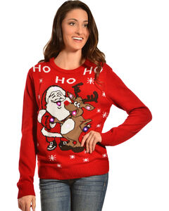 Lisa International Santa & Reindeer Light-Up Christmas Sweater, Red, hi-res