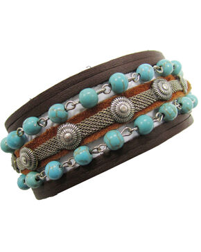 Cowgirl Confetti by AndWest Mini Concho & Turquoise Bead Leather Wrap Bracelet, Brown, hi-res