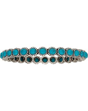 Wrangler Rock 47 Rocks & Roll Blue Pebble Bangle Bracelet, Silver, hi-res