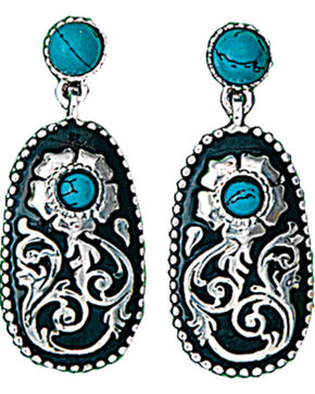 Montana Silversmiths Women's Turquoise Posy Drop Earrings , Silver, hi-res