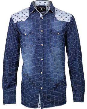 Rock Roll n Soul Men's Star Bombers Long Sleeve Shirt, Navy, hi-res