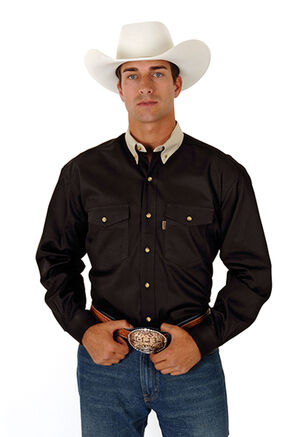 Roper Contrasting Khaki Collar Twill Western Shirt - Big and Tall, Black, hi-res