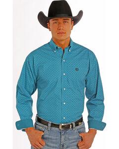 Panhandle Slim Men's Turquoise Peached Print Western Shirt , , hi-res