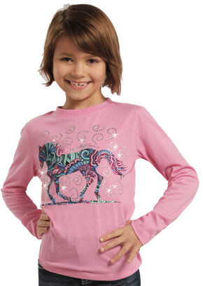 Rock & Roll Cowgirl Girls' Horse and Flowers Long Sleeve Tee, Pink, hi-res