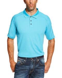 Ariat Men's Blue Waterfall Heat Series Tek Polo Shirt , Blue, hi-res