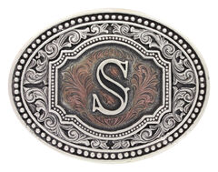 "Montana Silversmiths Men's Initial ""S"" Two-Tone Attitude Belt Buckle, , hi-res"