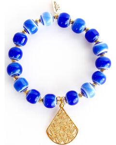 Everlasting Joy Jewelry Women's Blue Tile Gold Dangle Bracelet , Blue, hi-res
