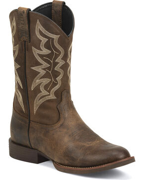 Justin Men's Buster Distressed Brown 11 Inch Stampede Cowboy Boots - Round Toe, Brown, hi-res