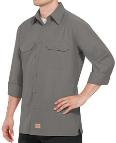 Red Kap Men's Solid Rip Stop Long Sleeve Work Shirt , , hi-res