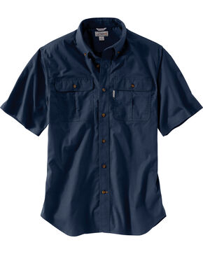 Carhartt Men's Foreman Short Sleeve Work Shirt - Big & Tall, Navy, hi-res