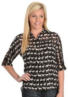 Girls With Guns New Zealand Animal Print Top, , hi-res