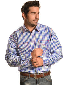 Wrangler Men's 20X Blue and White Check Western Shirt , , hi-res
