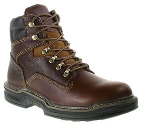 "Wolverine 6"" Raider Lace-Up Work Boots - Round Toe, Brown, hi-res"