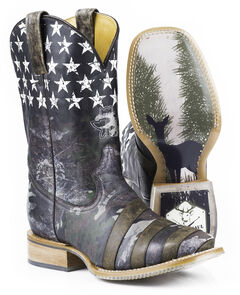 Tin Haul Camo Flag Hunt Club Cowboy Boots - Square Toe, , hi-res