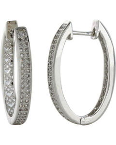 Montana Silversmiths Women's Oval Rhinestone Earrings , Silver, hi-res