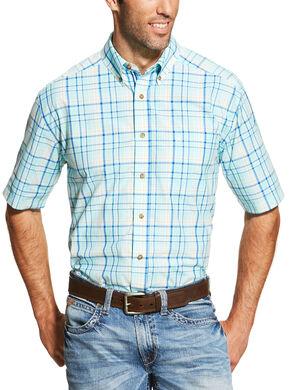 Ariat Men's Blue Ivan Short Sleeve Shirt , Blue, hi-res