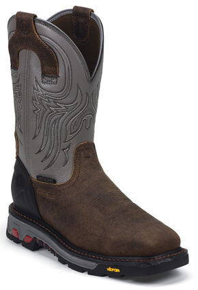 Justin JOW Commander X5 Pull-On Waterproof Work Boots - Steel Toe, Timber, hi-res