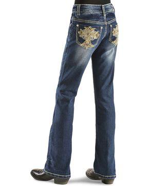 Red Ranch Girls' Fancy Rhinestone Cross Jeans - 4-6X, Denim, hi-res