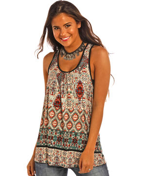 Panhandle Slim Women's Teal Tribal Print Red Label Clubwear Top , Teal, hi-res