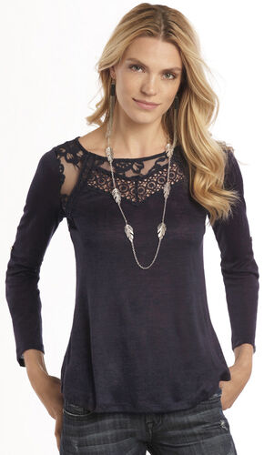 Rock & Roll Cowgirl Navy Convertible Lace Long Sleeve T-Shirt , , hi-res