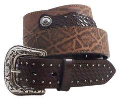Roper Men's Elephant Print Basketweave Leather Concho Belt, , hi-res