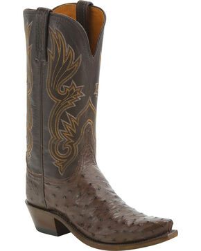 Lucchese Women's Dolly Full Quill Ostrich Western Boots - Snip Toe, Tan, hi-res