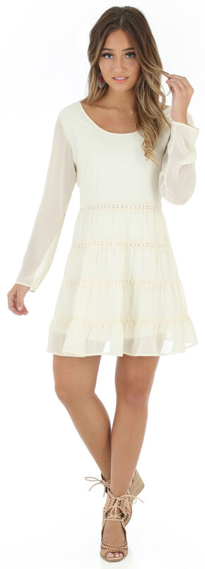 Wrangler Women's Cream Scoop Neck Crochet Back Dress, Cream, hi-res