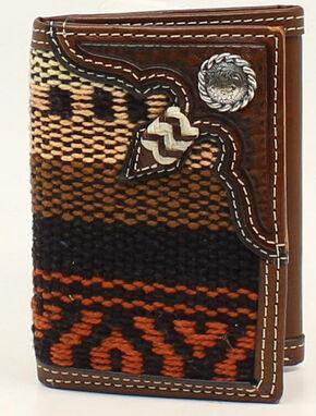 Nocona Fabric Rawhide Knot Concho Tri-Fold Wallet, Multi, hi-res
