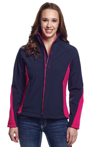 Cripple Creek Women's Blue and Pink Water Resistant Bonded Fleece Jacket, Twilight, hi-res