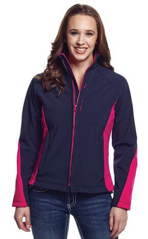 Cripple Creek Women's Blue and Pink Water Resistant Bonded Fleece Jacket, Twilight, hi-res