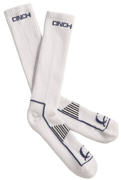 Cinch Men's White and Navy Boot Socks , , hi-res