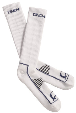 Cinch Men's White and Navy Boot Socks , White, hi-res