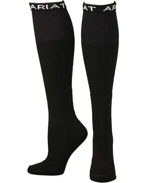 Ariat Men's Over the Calf Black Boot Socks, Black, hi-res
