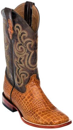 Ferrini Men's Honey Brown Caiman Belly Print Western Boots - Square Toe , , hi-res