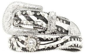 Blazin Roxx Zebra Print Rhinestone Concho Belt, Blk/white, hi-res