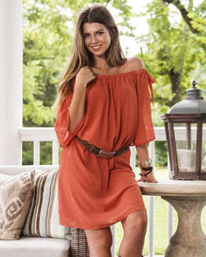 Wrangler Women's Copper Off The Shoulder Dress, Rust Copper, hi-res