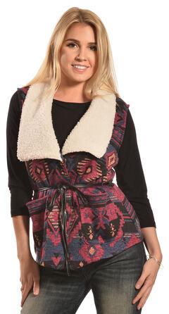 Derek Heart Women's Aztec Sherpa Belted Vest , , hi-res