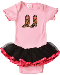 Kiddie Korral Infant Girls' Cowgirl Boots w/ Attached Tutu Bodysuit - 6M-24M, , hi-res