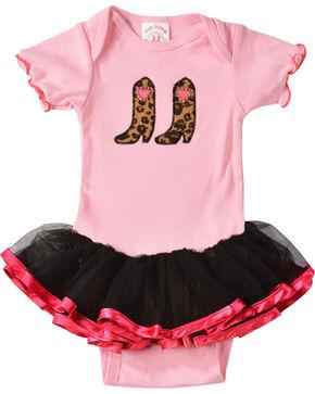 Kiddie Korral Infant Girls' Cowgirl Boots w/ Attached Tutu Bodysuit - 6M-24M, Pink, hi-res