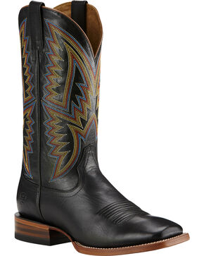 Ariat Hesston Cowboy Boots - Square Toe, Black, hi-res