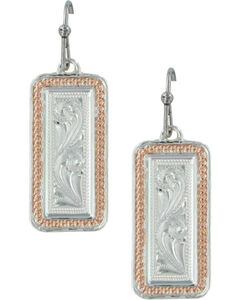 Montana Silversmiths Women's Crosscut Floral Portrait Earrings , , hi-res