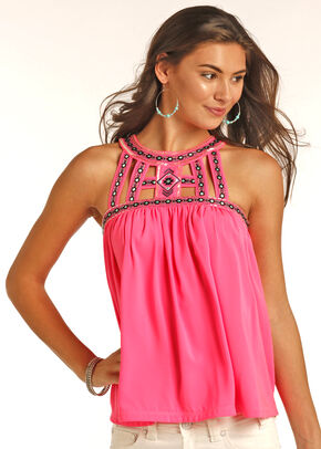 Panhandle Slim Women's Pink Hi-Lo Halter Top , Pink, hi-res