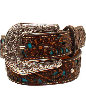 Ariat Girls' Brown Tooled Rhinestones Overlay Belt , Brown, hi-res