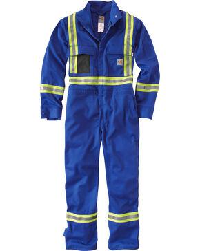 Carhartt Men's Flame Resistant High-Viz Coveralls - Regular, Big & Tall, Royal, hi-res