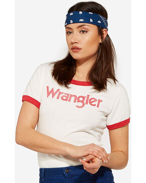 Wrangler Women's 70th Anniversary Red Retro Kabel Logo Ringer Tee, Red, hi-res