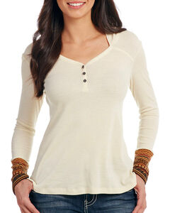 Cowgirl Up Women's Long Sleeve Thermal Hooded Henley, Ivory, hi-res