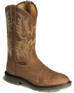 Ariat Brown Maverick II Pull-On Work Boots - Soft Toe, , hi-res