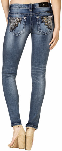 Miss Me Women's Angle Embellished Skinny Jeans - Extended Sizes, , hi-res