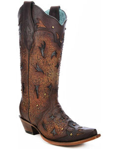 Corral Women's Studded Embossed Cowgirl Boots - Snip Toe, , hi-res