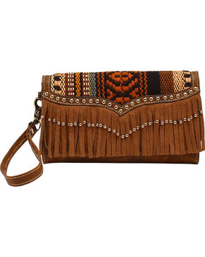 Blazin Roxx Multi Fabric Fringe Clutch Wallet, Brown, hi-res